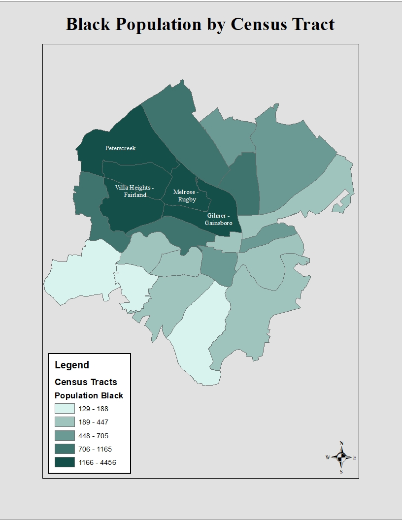 Map of the Black Population in Roanoke by Census Tract, showing the largest concentration in Northwest Roanoke
